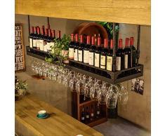 barre sospensione Bancone bar Cremagliera del vino Restaurant Casalinghi Bicchieri di vino Rack invertito Retro Arte del ferro Cremagliere del vino ( Colore : B , dimensioni : 60*35cm )