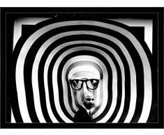 """Quadro con cornice: giovanni paolini """"street con vetrina !!"""" - stampa artistica decorativa, cornice di alta qualità, 95x70 cm, nero / angolo grigio"""