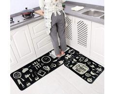 LEEBEI Tappeti da Cucina Bedroom Mats Tappetini Antiscivolo per Cucina Tappeti per Zona(23.6 × 15.7 Pollici + 47.2×15.7 Pollici) (Tableware)