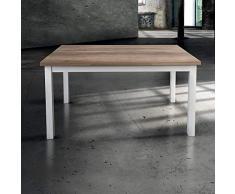 Milani Home s.r.l.s. Tavolo da Pranzo Moderno di Design Allungabile Cm 70 X 110/150/190 Struttura Bianca Piano Tortora per Sala da Pranzo Ristorante