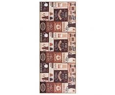wunderlin Tappeto per corridoio, cucina, collezione lavabile, design moderno, adatto per tappeti, antiscivolo e passatoia da cucina, utile tappeto da cucina, lavabile (Coffee Pot, 60 x 150)