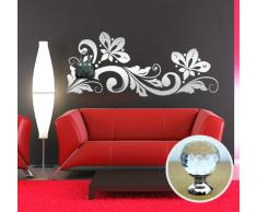 00461 Adesivo murale con pomelli stile Swarovski per appendiabiti Wall Art - Fiori di cristallo appendiabiti gioiello - Misure 115x49 cm - argento - Decorazione parete, adesivi per muro, carta da parati