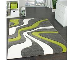 Tappeto di Design Motivo Ondulato Orlo Lavorato Mano Colori Grigio Verde Crema, Dimensione:160x230 cm