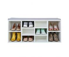 TRESKO® Scarpiera per 10 paia di scarpe con possibilità di seduta / libreria con cuscino lavabile, Scarpiera, panca con cuscino, credenza con possibilità di seduta, scarpiera con deposito per il corridoio, salotto, bagno o per