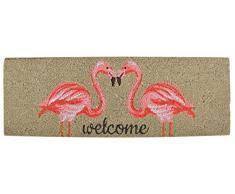 Esschert Design rb189 Tappetino in Cocco Flamingo Zerbino, Fibra di Cocco, PVC, Marrone, Rosa, 75 x 25 x 1.8 cm