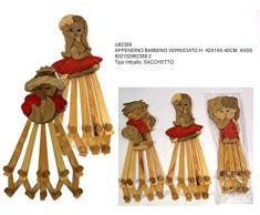 Idea cameretta: set 3 pezzi appendino attaccapanni in legno con figuretta bimbo bimba in 3 assortimenti; cm 42 * 14 allungabile fino a 40 cm; con nove ganci pomelli