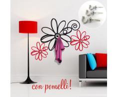 Adesivi Creativi adesivo sticker murale Appendiabiti margherite 2 Dimensioni 120 X 85 cm | wall stickers | adesivi da parete | Decorazione murale | decalcomania