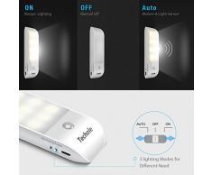 Luce Notte LED, OMERIL [2 Pezzi] Lampada Guardaroba con Sensore Movimento, Batteria Ricaricabile Luce LED con Striscia Magnetica Adesiva per Armadio, Scale, Corridoi, Cucina, Garage ecc-Auto/On/Off