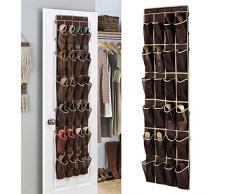 Scarpiera da appendere, 24 tasche scarpe mensola per armadio, porta, armadio