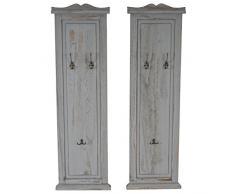 Serie vintage set 2x appendiabiti attaccapanni legno paulonia 3 ganci 6x28x109cm ~ grigio