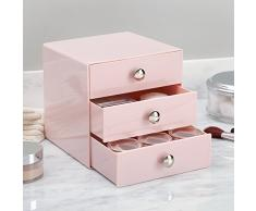 InterDesign Drawers | Contenitore a scomparti con 3 cassetti | Mini cassettiera Portagioielli e make-up | pratico Organizer ufficio | Plastica rosa
