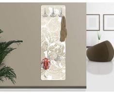 Appendiabiti da parete, 139 x 46 x 2 cm, appendiabiti per cappotti, fissaggio a parete, motivo dal design ornamentale