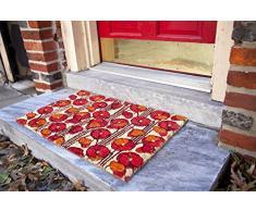 Zerbino Entryways 43 x 71 cm, in fibra di cocco con rivestimento antiscivolo in PVC, decorazione papaveri