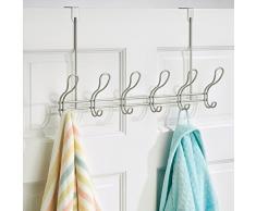InterDesign-Neo-Over the Door-Gancio per cappotti e cappelli, Donna, asciugamani, in acciaio satinato, 4 pezzi