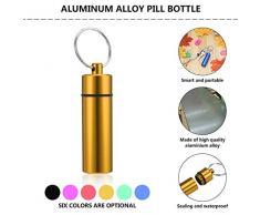 Mouchao Giallo a Forma di Pillola Contenitore Impermeabile Bottiglia Pillola Droga Contenitore portacappelli in Lega di Alluminio
