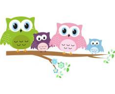 Livingstyle & Wanddesign Adesivo da parete, con gufi, proposta per bambini, appendiabiti, Plastica, 100cm breit x 53cm hoch