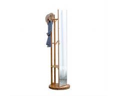 HTHBKPR Scatole e Appendiabiti per Cappelli Specchio per Lo specchiera Coprivaso per scaffalature in Legno massello Corpo A Soggiorno Modern Simple Bamboo Home Specchio Rotante per vestirsi