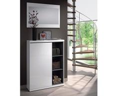 Habitdesign 0G6749BO-Scarpiera colore: bianco brillante e ceneri, con specchio-Dimensioni: 79 x 108 x 25