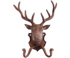 Esschert Design - Gancio appendiabiti/portasciugamani murale, piastra decorata con testa di cervo, in ghisa, colore: Marrone scuro