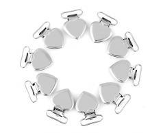 Clip per bretelle titolare ciuccio da 10 pezzi, clip a forma di cuore in metallo per realizzare fermacane con portacappelli in argento