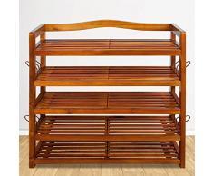 Deuba Scaffale XXL in legno di acacia | legno massello | 5 robusti ripiani | 95 cm x 26 cm x 82 cm | porta scarpe | scaffale | colore: marrone