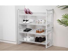 NEUN WELTEN Design Scaffale Scarpiera Porta Scarpe Organizzatore in Metallo di Acciaio Salvaspazio Ripostiglio 74 × 30 × 82 cm(4 Ripiani, Bianca)