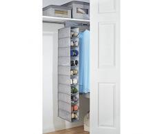 Pendente mdesign armadio – Der ideale pensile in tessuto con 10 ripiani – Perfetto cartella contenitore per vestiti, scarpe, accessori e molto altro ancora – grigio