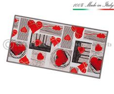 Tappeto cucina cuori TESSITURA PIATTA retro antiscivolo moderno multiuso corridoio bagno camera mod.FAKIRO14 57X240 GRIGIO (G)