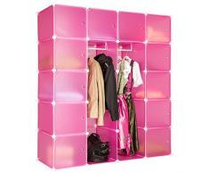 TecTake Scaffale armadietto modulare mobile scaffalatura mensola per scarpe bagno sistema di plug-in cuba con appendiabiti - disponibile in diversi colori - (Rose | No. 402089)