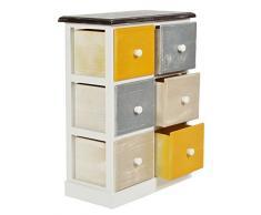 ts-ideen Mobiletto Cassettiera Multicolore stile Shabby 6 Cassetti per Bagno Cucina Ingresso o Camera da Letto