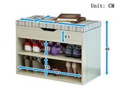 LI JING SHOP - Panchina in legno massiccio per scarpe, 2 strati di stoccaggio per pattini con pattino per scarpe con piumino imbottito, colore: superficie nera / rossa / quadrato / gesso, dimensioni: 60 * 30 * 45CM ( Colore : Square