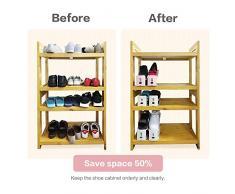 Rack di scarpe per risparmio spazio, BAFFECT® Regolabile scaffale di archiviazione dell'armadio del pattino spazio di immagazzinaggio del pattino di spazio doppio strati 2 parti / lotto (Rosa)
