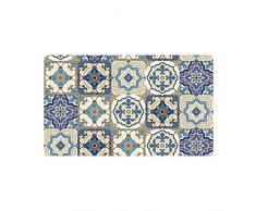 MeiMei2 Splendida Patchwork Moroccan Tile zerbino Indoor Outdoor Entrance Tappeto tappetini in Gomma Scarpe Raschietto zerbino Antiscivolo Home Decor, Large 59,9 cm (L) x 39,9 cm (W)