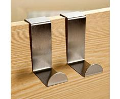 2 x da.WA appendiabiti da porta, armadio, ganci in acciaio INOX da credenza cassetto e ganci