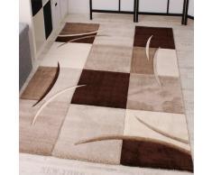 Paco Home Tappeto Di Design Orlo Modello A Quadri Nei Colori Marrone Beige Crema, Dimensione:60x110 cm