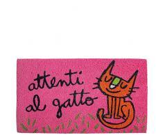 laroom Zerbino Motivo attenti al Gatto, Jute And Base Antiscivolo, Rosa, 40Â x 70Â x 1.8Â cm