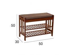 Hkw-shop Scarpiera a Piani Scaffale/Portascarpe Bamboo Scarpiera/panchina con Cuscino in Lino, in Piedi, Adatta per Soggiorno Camera da Letto (Marrone) Portascarpe Scarpiera