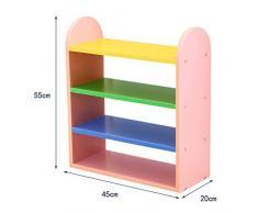 Shoe rackDY Dongy Scaffale per scarpe 4 livelli per bambini, combinazione di colore bella mensola, armadio scarpiera in legno, 45 * 20 * 55 cm (Colore : Rosa)