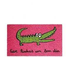 laroom Zerbino Coccodrillo Motivo um Bon Dia, Jute And Base Antiscivolo, Rosa, 40Â x 70Â x 1.8Â cm
