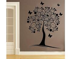 adesivo murale appendiabiti Swirl Flower Tree Wall Decor Sticker Farfalle fai da te soggiorno Decorazione della casa