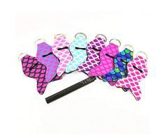 Minkissy 10Pz Portacappelli Portamacchette Portatili per Balsamo per Labbra Portachiavi Marsupio Multicolore Accessori da Viaggio per Donna (Stile Casuale)
