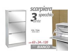 Gicos Mobile scarpiera Struttura in Legno 3 Ante Specchio Colore Bianco 63 * 24 * 120 cm PUR-770166