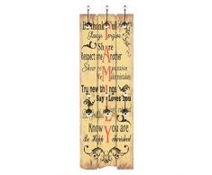 Lasamot Appendiabiti da Parete con 6 Ganci mensola Appendiabito Portacappelli Gancio a Muro per riporre Il Soggiorno 120 x 40 cm Family