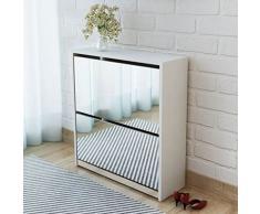 FESTNIGHT Scarpiera a 2 Strati con Specchio/Scarpiera Armadio Bianca 63x17x67 cm