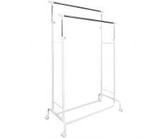 TecTake Attaccapanni appendiabiti abiti con ruote altezza regolabile Stand Stender duo