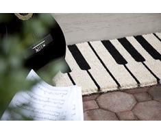 Entryways - Zerbino in fibra di cocco, lavorazione a mano, 45 x 75 cm, fantasia: pianoforte