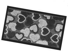 Zerbino asciugapassi interno esterno 40x70 antiscivolo antinciampo tappeto stuoia cuori mod.SILVER O 40X70 GRIGIO