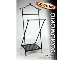 Idea casa: OMINO APPENDIABITI servomuto maggiordomo indossatore in ferro battuto con griglia poggiascarpe; colore nero. Misure cm47x36x100