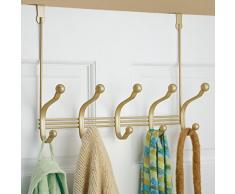 InterDesign York Lyra Guardaroba per porta con 5 ganci doppi, Ganci appendiabiti da porta in metallo per giacche, cappelli, sciarpe o foulard, oro