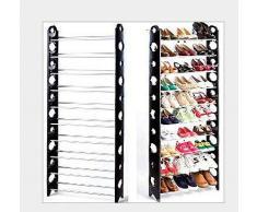 Splink-tech Safecom -10 Ripiani Regolabili mensola scarpiera organizzatore Tenere Supporto per 30 Paia di Scarpe, salvaspazio, Facile da Montare – 63 x 20 x 156 cm (L x W x H)